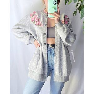 🌿 Vintage Rose Embroidered Terry Cloth Cardigan